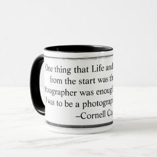 Mug I was to be a photographer of peace quote Capa