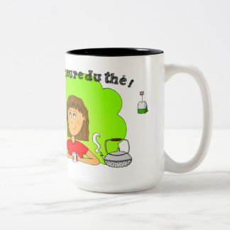 "Mug ""It is the tea time!"" for left-handed person"