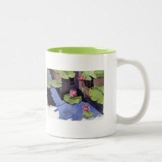 MUG, Lilly pads, green Two-Tone Mug