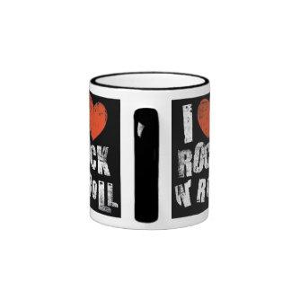 mug, love rock and roll,black ringer mug