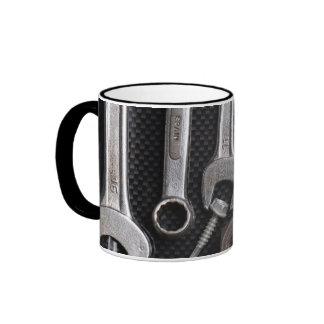 Mug: mechanics bench tool. Black handle Ringer Mug
