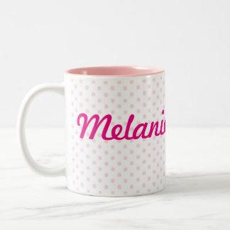 ♥ MUG ♥  MELANIE name white pink polka dot girly