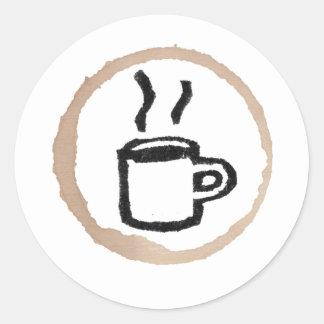 Mug Of Hot Coffee / Coffee Stain Classic Round Sticker