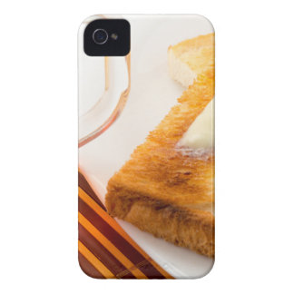 Mug of tea and hot toast with butter iPhone 4 case