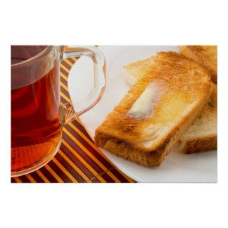 Mug of tea and hot toast with butter poster