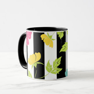 """Mug of two colors """"Drawing Flowers and leaves """""""