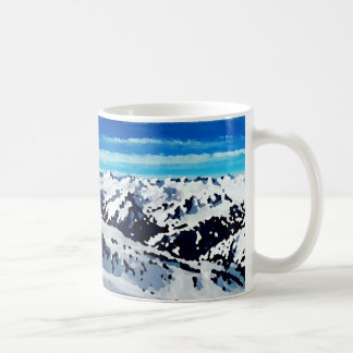 Mug painting top mountain snows