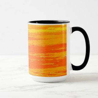 Mug. Red Orange broad waves. Mug