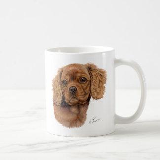 Mug, Ruby cavalier king charles spaniel puppy Basic White Mug
