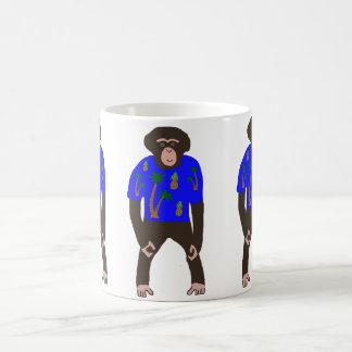 Mug showing chimp in a Hawaiian shirt.