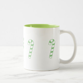 Mug - Striped Candy Canes in Green