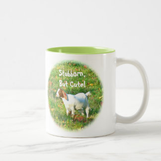 "Mug""Stubborn But Cute"" (Goat Photo) Two-Tone Coffee Mug"