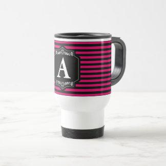 Mug Thermal Trip Pink Stripes Monogram