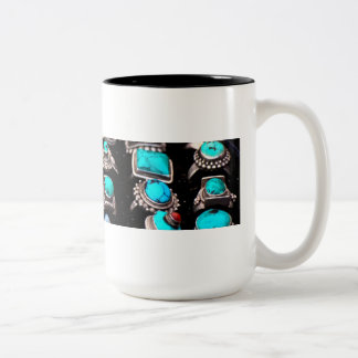 Mug, turquoise jewelry Two-Tone coffee mug