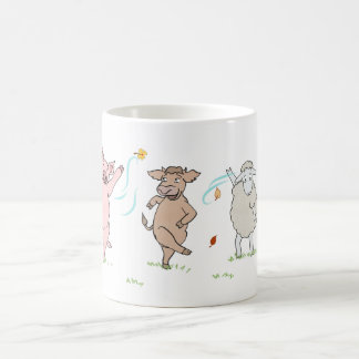 Mug vegan, pig, cow and sheep which dance