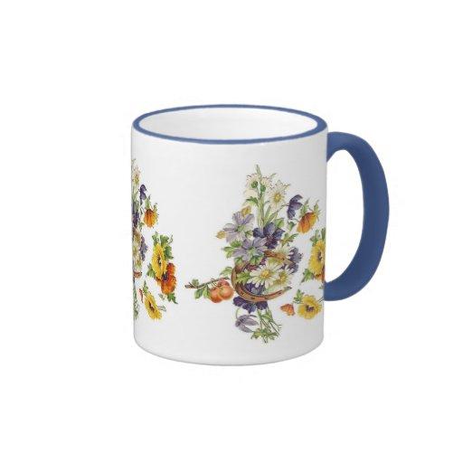 Mug Vintage Floral Bouquet Horse Shoe Mug