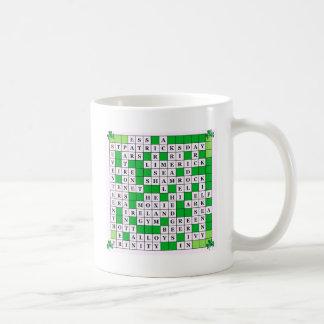 Mug w/ St Patrick's Day original Crossword Design