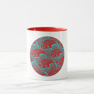 Mug with a red blue wave design