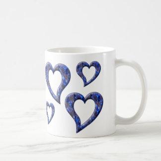 Mug with Blue Jewel Hearts