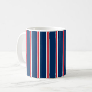 Mug with blue, red and white stripes