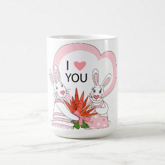 Mug with funny rabbit couple