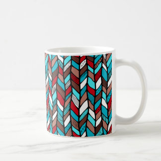 Mug with multicolor knitwork pattern