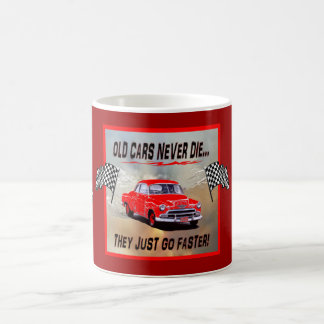 "Mug with ""Old Cars Never Die!"" design"
