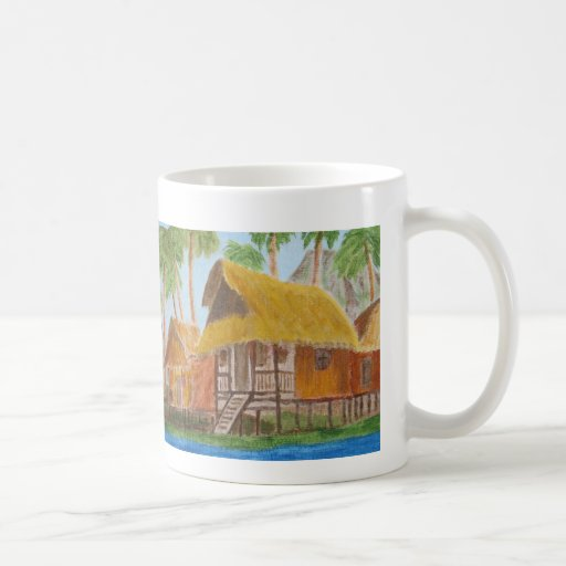 Mug with painting of grass huts