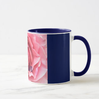 Mug with pink rose with blue trim