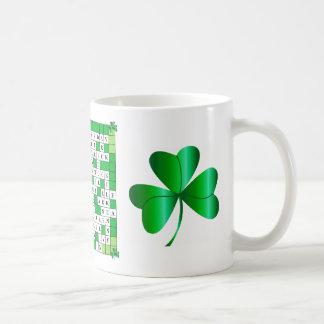 Mug with St Patrick's Day Crossword & Shamrocks