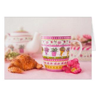 Mug With Tea, Croissant And Flower Card