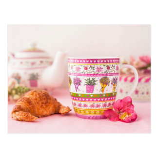 Mug With Tea, Croissant And Flower Postcard