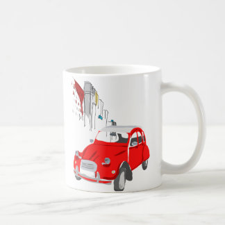 Mug with Vintage Style Citroen 2CV Car in Red