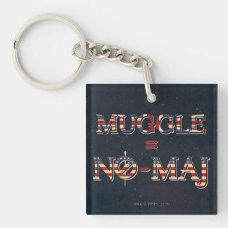 Muggle = No-Maj Double-Sided Square Acrylic Key Ring