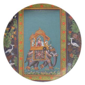 Mughal Indian India Islam Persian Persia Elephant Plate