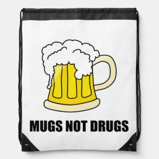 Mugs Not Drugs Drawstring Bag