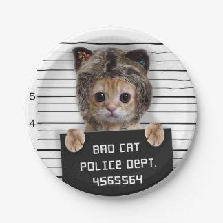 mugshot cat - crazy cat - kitty - feline 7 inch paper plate