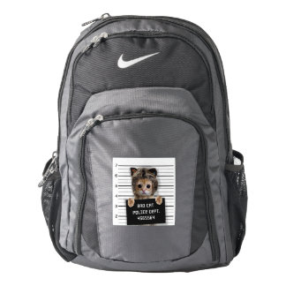 mugshot cat - crazy cat - kitty - feline backpack