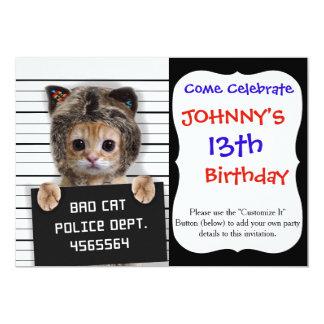 mugshot cat - crazy cat - kitty - feline card