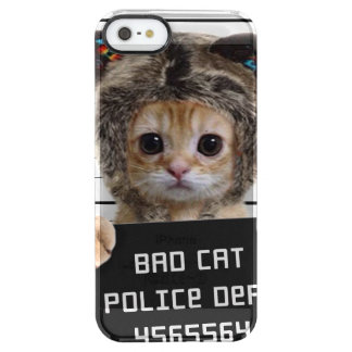 mugshot cat - crazy cat - kitty - feline clear iPhone SE/5/5s case