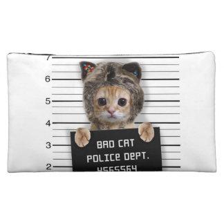mugshot cat - crazy cat - kitty - feline cosmetic bag