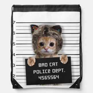 mugshot cat - crazy cat - kitty - feline drawstring bag