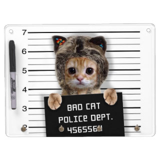 mugshot cat - crazy cat - kitty - feline dry erase board with key ring holder