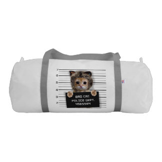 mugshot cat - crazy cat - kitty - feline gym duffel bag