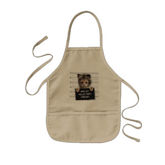mugshot cat - crazy cat - kitty - feline kids apron