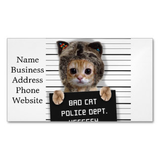 mugshot cat - crazy cat - kitty - feline 	Magnetic business card