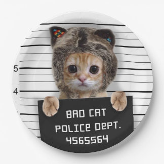 mugshot cat - crazy cat - kitty - feline paper plate