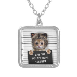 mugshot cat - crazy cat - kitty - feline silver plated necklace