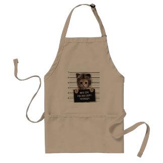 mugshot cat - crazy cat - kitty - feline standard apron