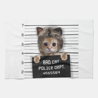 mugshot cat - crazy cat - kitty - feline tea towel